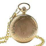 DZNOY Taschenuhr Goldener Schild Mechanische Taschenuhr Uhr Vintage Hand Wickeltasche Anhänger Watch Geschenke Für Männer Frauen Taschenuhr