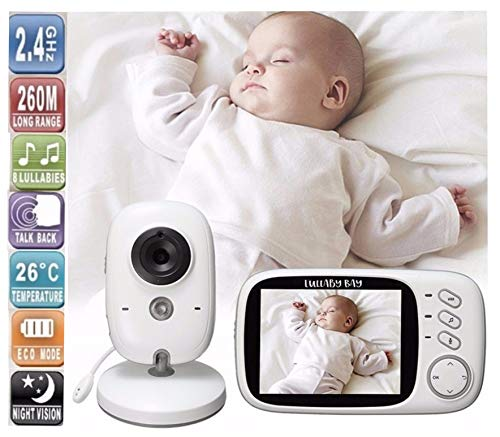 Lullaby Bay Video Baby Monitor with Camera. Anti-Hack Encryption. Wireless Digital 3.2 inch LCD Screen. Night Vision. Temperature Sensor. 2-Way Talk. Long Range. 8 Lullabies. Sound Activation