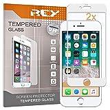 REY 2X Protector de Pantalla 3D para iPhone 7 Plus - iPhone 8 Plus, Blanco, Protección Completa, 3D / 4D / 5D