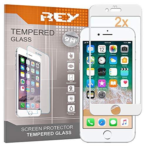 REY 2X Protector de Pantalla 3D para iPhone 6 Plus - iPhone 6S Plus, Blanco, Protección Completa, 3D / 4D / 5D