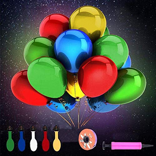 Herefun 50 Pcs Ballons LED Colorés Lumineux Idéal pour Anniversaire Fête Soirée Marriage Divers Festivals Decoration avec Pompe (Ballon)