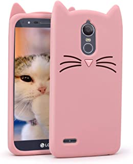 Megantree LG Stylo 3 Case, LG Stylo 3 Plus Case, Cute Funny 3D Cartoon Animals Pink Whisker Cat Ears Kitty Case, Soft Silicone Shockproof Slim Fit Back Cover Cases for Girls Kids Women Lady