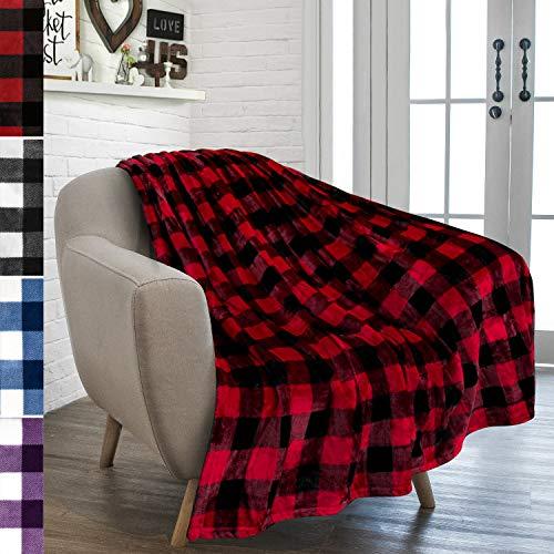 PAVILIA Buffalo Plaid Throw Blanket for Sofa Couch | Soft Flannel Fleece...
