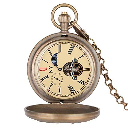 J-Love Reloj Bolsillo Retro, águila bicéfala Escudo Armas Insignia del Emblema Nacional Ruso Tourbillon Cobre Puro Reloj Bolsillo mecánico Coleccionables Arte