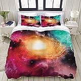 Funda nórdica, imágenes de astronomía coloridas del zodíaco de una galaxia espiral, estrellas, polvo de estrellas y cosmos, juego de cama, juegos de microfibra de lujo ultra cómodos y ligeros (3 pieza