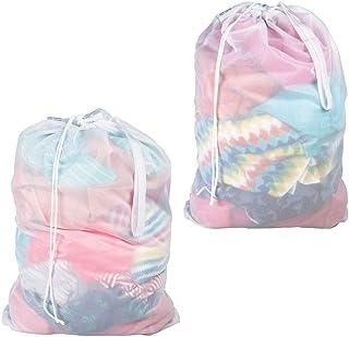 comprar comparacion mDesign Juego de 2 Saco para ropa sucia – Práctica bolsa para la colada de tejido de red transpirable – Duradera bolsa de ...