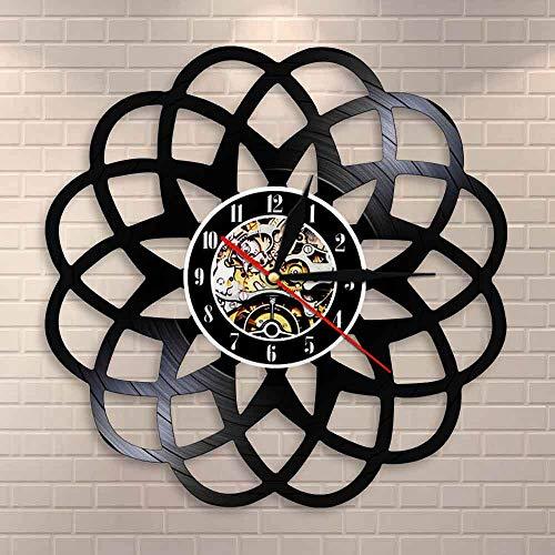 wtnhz LED-Estilo Scandi geométrico Sala de Estar geométrica Flor Reloj de Pared decoración del hogar diseño Moderno geométrico Retro Disco de Vinilo Reloj de Pared