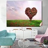 Arte de la pared Pintura de la lona Árbol de corazón rojo Imágenes de paisajes Decoración de la sala de estar Carteles e impresiones Impresión de arte de pared Regalos para mujeres