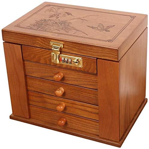 Caja de joyería de gran capacidad simple retro caja de acabado de madera contraseña de bloqueo pendientes pendientes collar caja de almacenamiento joy...