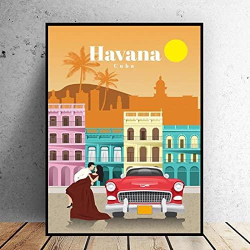 cuadros decoracion lienzowall art Fotos de Viajes a La Habana Travel (60x90cm-Frameloos )