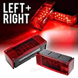 Left+Right/Over 12 LED Super diodes for Each Light/Boat Trailer Light Waterproof Red Trailer Boat Rectangle Rectangular Low Profile Stop Turn Submersible Lights kit