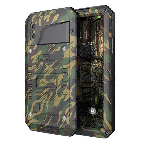 Beeasy Hülle Kompatibel mit iPhone XS/X,Wasserdicht Stoßfest Outdoor Handy Case Militärstandard Schutzhülle mit Bildschirmschutz Metall Schutz vor Stürzen Stößen Heavy Duty Handyhülle,Camouflage