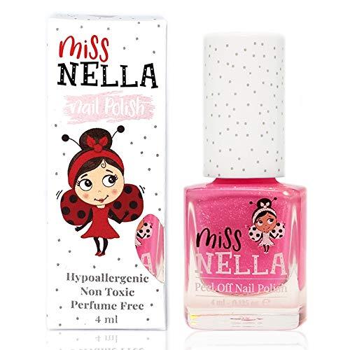 Miss Nella neue Sommerkollektion WATERMELON POPSICLE- Spezieller Rosa Nagellack mit Glitzer für Kinder, Peel-Off-Formel, wasserbasiert und geruchsneutral