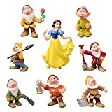 BESTZY Blancanieves eI Siete Enanitos Figuras Cake Topper Cute Figure de Colección Decoraciones Niños Fiesta de Cumpleaños Blancanieves Figuras de Acción 8 pcs