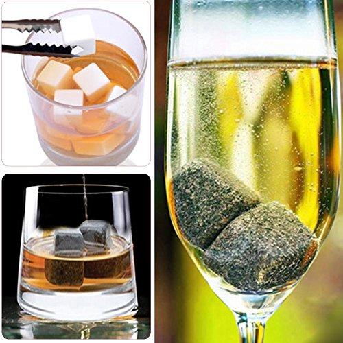 Eiswürfel Wiederverwendbare Whisky Steine 9 Stück Aus Natürlichen Speckstein Wiederverwendbare Eiswürfel Whiskysteine Whisky Stones Kühlsteine. - 3