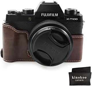 Fuji X T100 Tasche, kinokoo Tasche für FUJIFILM X T100 Kamera, Halbe Abdeckung Handgriff (Kaffee)