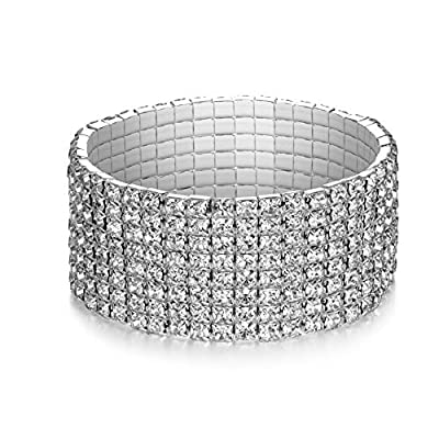 LDPF Sparkly Rhinestone Stretch Bracelet for Wedding,Prom,Bridal,Costume,Figure Competition,Beauty Pageant
