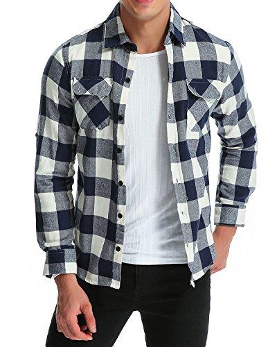 MODCHOK Hombre Camisa a Cuadros Casual de Franela Manga Larga Shirt Algod¨®n Slim Fit?Azul Blanco M