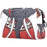 Neceser de Maquillaje Estuche Escolar para Cosméticos Bolsa de Aseo Grande Elefante Vestido con un Divertido suéter de Navidad y Gorro de Papá Noel