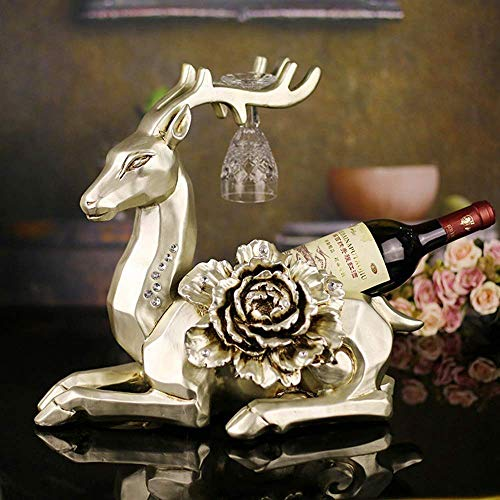XUSHEN-HU Europeo decoración del hogar artesanía fábrica de resinas Directa de Mentira Ciervos Estante del Vino Regalos Peony de Mayoristas (40 * 25 * 35cm) Elegante y Hermosa Recuerdo