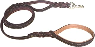 double handle leather dog leash