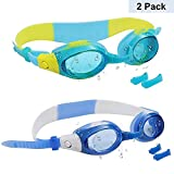 Gafas de Natación para Niños (2 Paquete) - Júnior Gafas de Natación con de Puentes Nasales Ajustables - Piscina gafas para Niños, Niñas - Protección UV, Anti Niebla, Sin Fugas, Impermeables