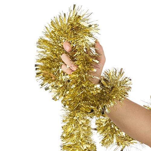 SANNO 39.4ft Christmas Tinsel Garland,Champagne Gold Tinsel Thick and Full Tinsel Sparkly Classic Party Ornaments Hanging Xmas Christmas Tree Ceiling Decorations,Pack of 2