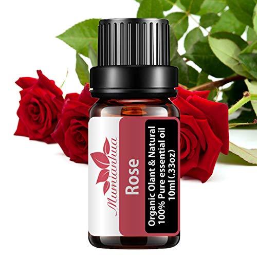Mumianhua 10ml Olio essenziale rosa 100% puro, grado terapeutico Olio profumato rosa Oli essenziali rosa biologico per diffusore, sonno, profumo, massaggio, cura dei capelli, aromaterapia, bagno