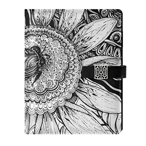 Cuaderno de cuero para diario de viaje, diseño de abeja, girasol, rellenable, tamaño A5, con anillas, tapa dura, para mujeres y hombres