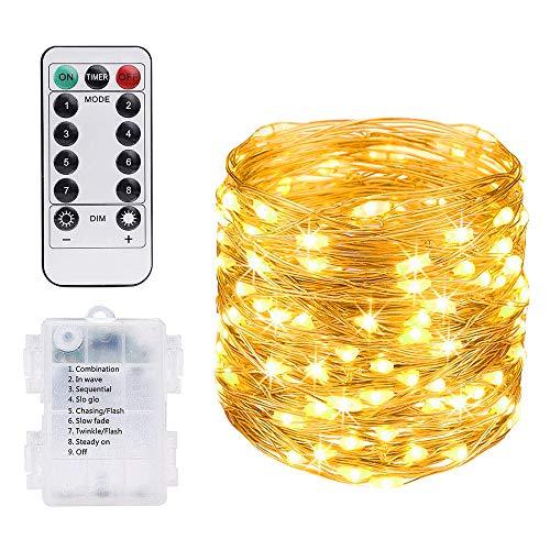 Vicloon LED Lichterkette, 10M 100 LED Kupferdraht Lichterkette 8 Modi Außenbeleuchtung Wasserdichte IP68 mit Fernbedienung, Lichterkette Batterie für Innen/Außen Garten Party Weihnachten Hochzeit Deko