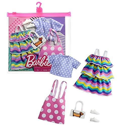 Barbie- Confezione da 2 Capi di Abbigliamento, 2 Outfit per Bambole con Vestitini e Accessori, Giocattolo per Bambini 3+ Anni, GRC87