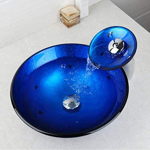 Blauwe Driehoek Vanity vaas Handbeschilderde wastafel aanrecht Basin Gehard Glas Bowl Kraan met Afvoer