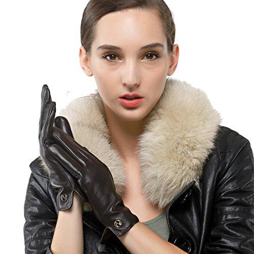 Las mujeres de piel de cordero de cuero Nappalgo Guantes invierno cálido forro polar guantes touchscreen simple largo