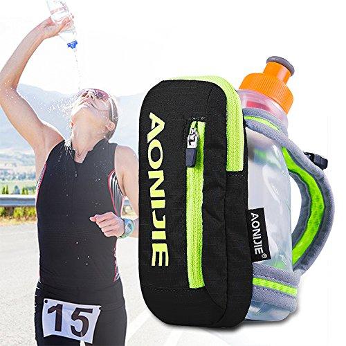 AONIJIE Nylon Quick Grip Chill Handheld Water Bottle Trinkflasche Trinkrucksack mit 250ML Trinkflasche (Schwarz)