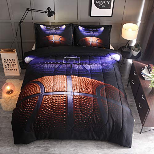 A Nice Night Basketball Court Printing Comforter Quilt Bedding Set for Teen Boys (Basketball Court)