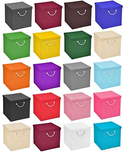 Stick&Shine 4X Aufbewahrungs Korb Grün Faltbox 30 x 30 x 30 cm Regalkorb faltbar mit Kordel und mit Deckel