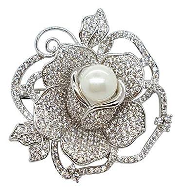 Flower Brooches for Women Silver Rose Camellia Petal Brooch Rhinestone Pearl Crystal Pins