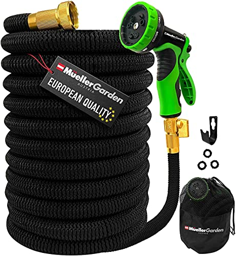 Mueller ArmorFlow Heavy Duty Expandable Garden Hose 50 Ft, Lightweight, Drinking Water Safe, 3/4' Solid Brass Fittings, Automatically Expands and Self-Drains, Kink and Tangle Resistant