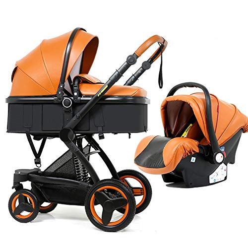 Find Bargain PU Luxury car seat Baby Stroller 3 in 1 Baby 2 in 1 Baby Safe Folding Stroller Chair fo...