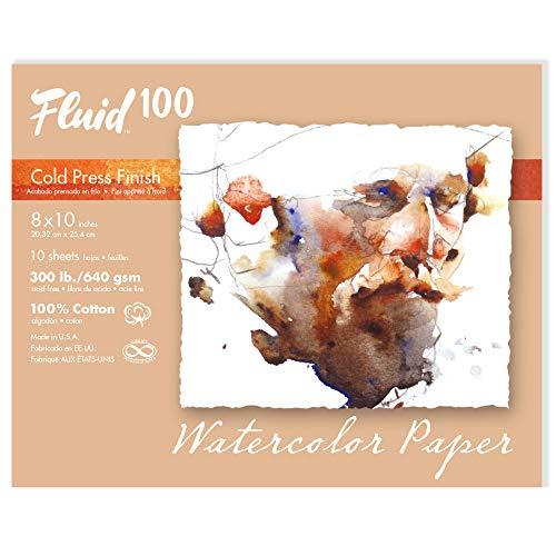 Fluid 100 Watercolor Paper 821716 300LB 100% Cotton Cold Press 8 x 10 Pochette, 10 Sheets