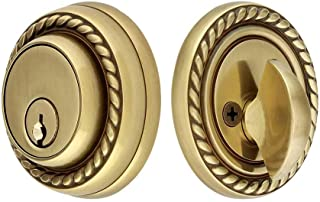 Solid Brass Single Cylinder Rope Style Deadbolt Antique Brass with 2 3/8