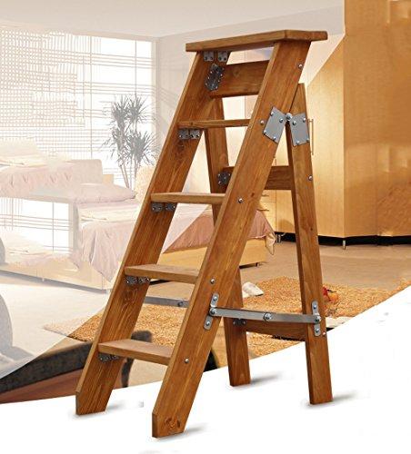 Goquik 5-staps vouwen enkelzijdige ladder visgraat vouwen enkele rechte massief hout zolder klimladder kruk bloem stand
