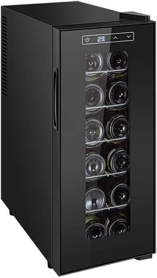 YFGQBCP Termoeléctrico Vino Tinto y Blanco refrigerador, Pantalla táctil y Pantalla LCD 11 ℃ -18 ℃ refrigerado por Aire y humectante Puede sostener 12 Botellas