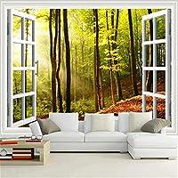 Djskhf 最新のHd外の窓サンシャインフォレスト写真壁画3Dステレオ自然壁紙リビングルームカフェ背景壁クラシック装飾 200X140Cm