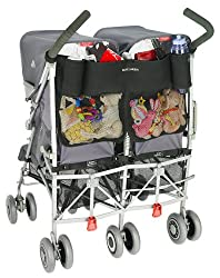 Large expandable mesh pocket extends down the back of your buggy, perfect for toys, snack or a change of clothes Features a smaller compartment ideal for keys, cell phone and valuables; include two bottle pockets Adjustable velcro straps attach easil...