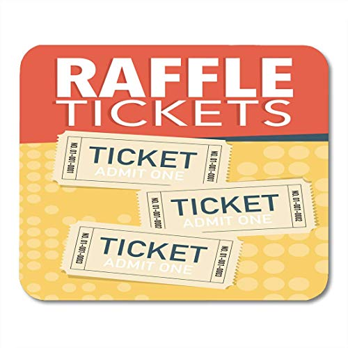 AOHOT Mauspads Orange Admit Raffle Tickets Three Yellow Entry One Sign Drawing Free Mouse pad 9.5