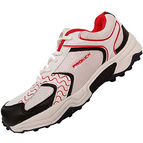 SG Prokick Rubber Spikes Limited Edition Cricket Shoes for Men - White/Red, 10UK