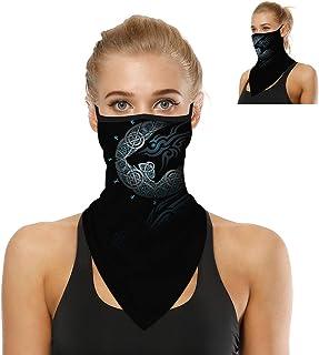 Bandana Face Mask with Ear Loops Women Men Neck Gaiter Motorcycle Summer Dust UV