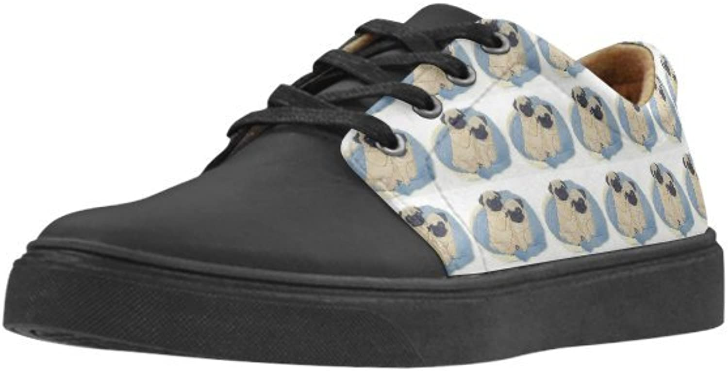 HUANGDAISY Pugs Couple Pointed Toe Grain Leather TPR Out-Sole Foamed Insole shoes for Women