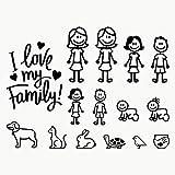 Autodomy Pegatinas Familia Feliz para Ellas Pack de 15 Adhesivos Calcomanias Stickers para Coche (Negro, Ellas)